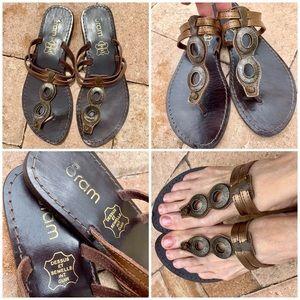 Eram Genuine Leather Flat Sandals